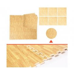 12 Tiles EVA Fitness Home Yoga Gym Interlocking Floor Puzzle Mat - Wood Colour