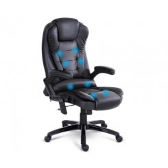 8 Point PU Leather Reclining Message Chair - Black