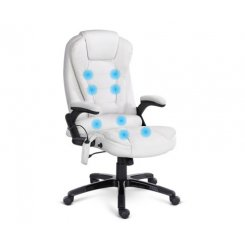 8 Point PU Leather Reclining Message Chair - White