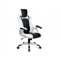 PU Leather Racing Style Office Chair - Black &White