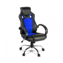 Racing Style PU Leather Office Chair - Blue