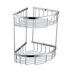 2Tier Corner Bathroom Basket Shelf Rail Rack