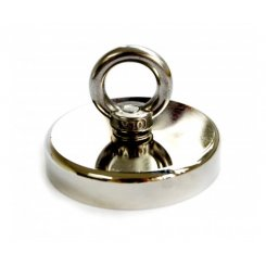 Round Neodymium Fishing Magnet with Countersunk Hole and Eyebolt, 500 LBS pull
