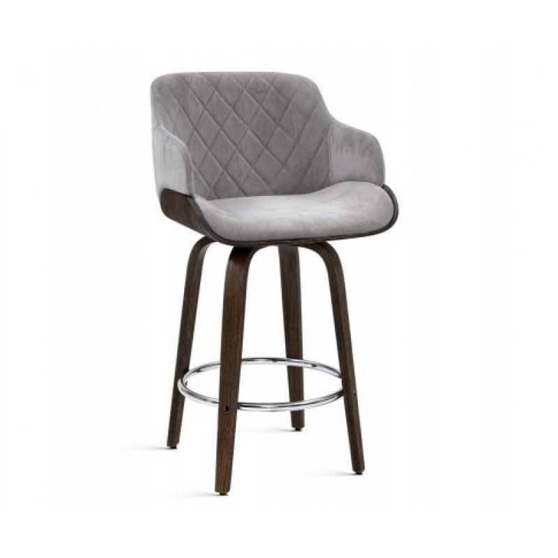 Admirable Artiss 1X Kitchen Bar Stools Wooden Bar Stool Chairs Swivel Velvet Fabric Grey Ocoug Best Dining Table And Chair Ideas Images Ocougorg