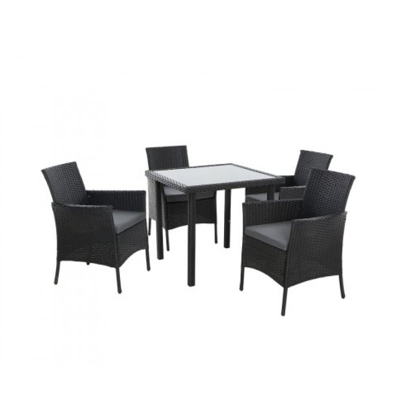 Amazing Outdoor Dining Set Patio Furniture Wicker Chairs Table Black 5Pcs Bralicious Painted Fabric Chair Ideas Braliciousco
