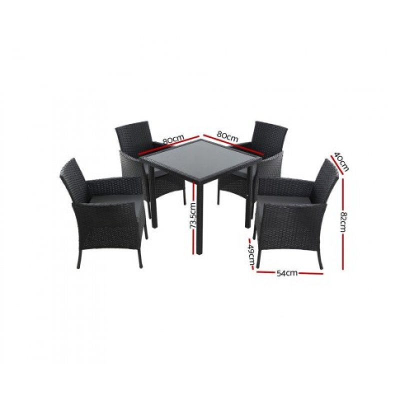 Awesome Outdoor Dining Set Patio Furniture Wicker Chairs Table Black 5Pcs Short Links Chair Design For Home Short Linksinfo