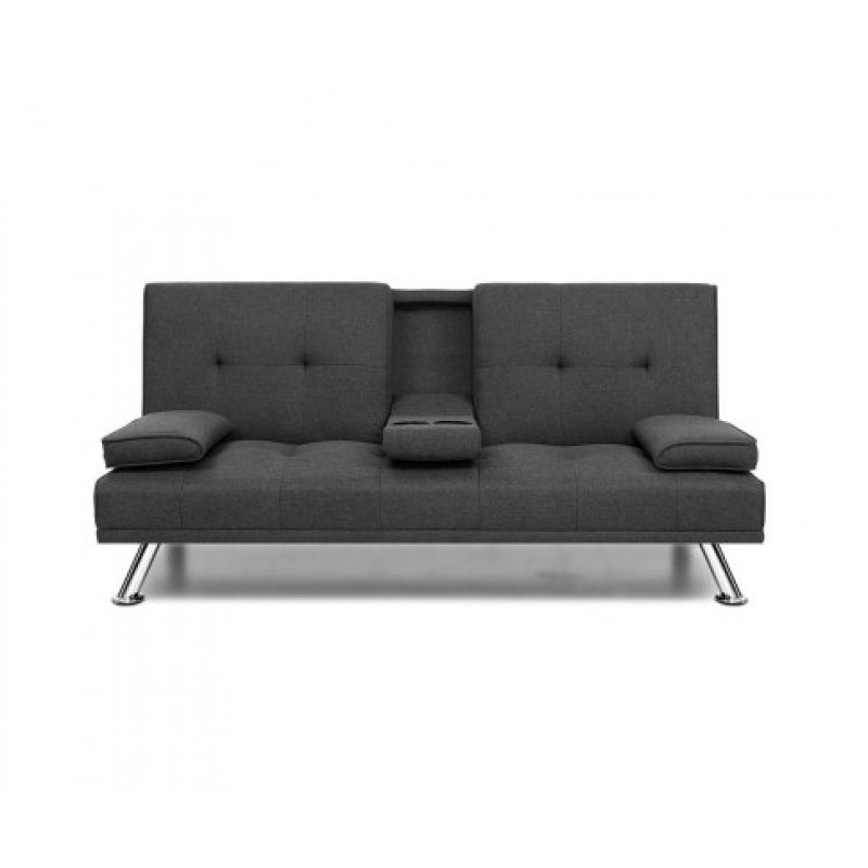 Outstanding Artiss Linen Fabric 3 Seater Sofa Bed Recliner Lounge Couch Cup Holder Futon Dark Grey Cjindustries Chair Design For Home Cjindustriesco