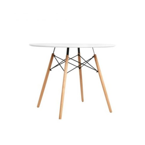 Artiss 4-Seater Round Replica Eames DSW Dining Table Kitchen Timber White 90cm