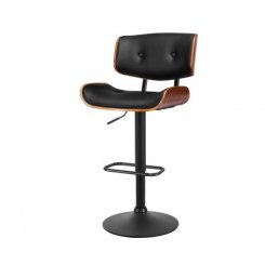 Artiss Bar Stool Gas Lift Wooden PU Leather - Black and Wood