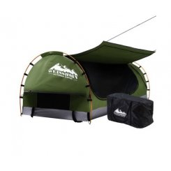 Weisshorn Swag King Single Camping Swags Canvas Free Standing Dome Tent Celadon with 7CM Mattress
