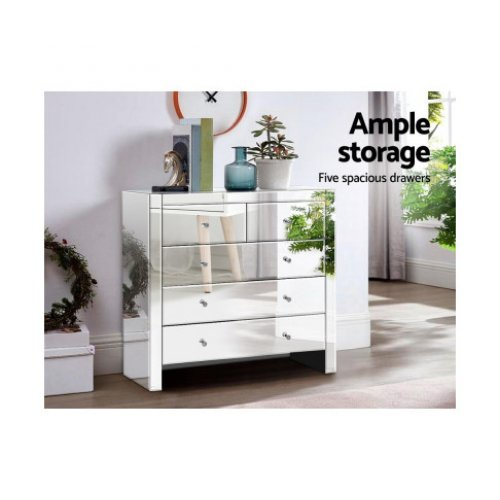 Artiss Chest of Drawers Tallboy Dresser Table Mirrored 5 Drawers Storage Cabinet