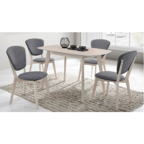 Natural Solid Rubberwood 5 Piece Dining Set