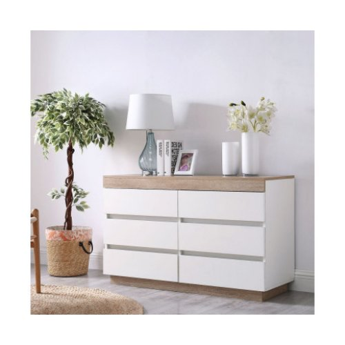 Ashley Coastal White Wooden Chest of 6 Drawers Cabinet
