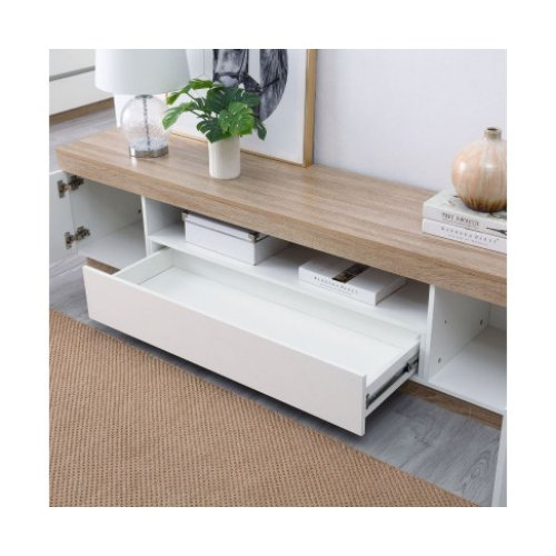 Ashley Coastal White Wooden TV Cabinet Entertainment Unit 180cm