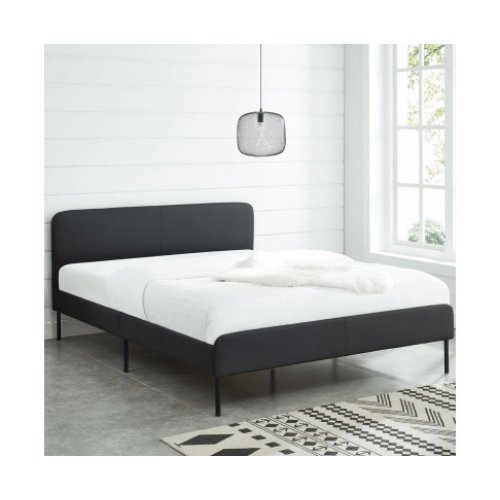 Modern Minimalist Charcoal Bed frame with Curved Head board Double