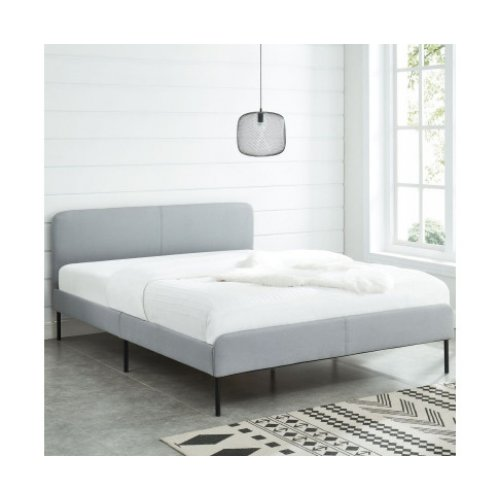 Modern Minimalist Stone Grey Bed frame with Curved Headboard Queen